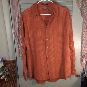 Geoffrey Beene button-up printed silk shirt sz L